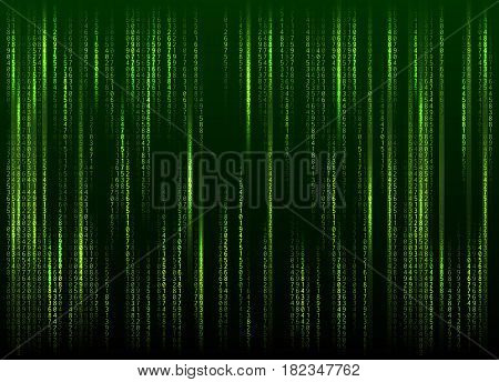 Stream of binary code on screen. Abstract vector background. Data and technology, decryption and encryption, computer matrix background with the green symbols and numbers. Vector illustration. EPS 10