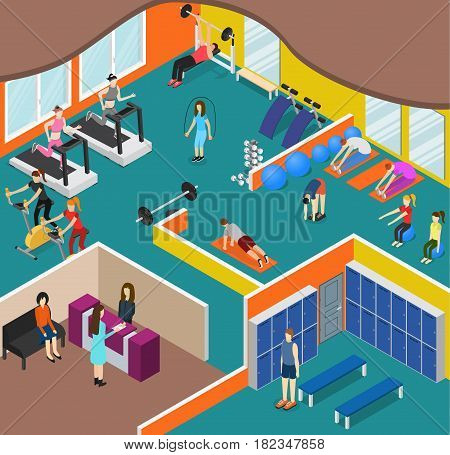 Interior Gym Panorama with Exercise Equipment and People Isometric View for Sport, Fitness. Vector illustration