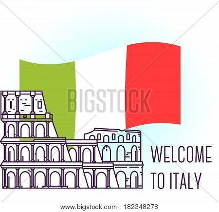 Vector illustration of coliseum. Rome landmark. Symbol of Italy. Sight-seeing of Europe. Thin line art design on light background with national flag and text for card, web, site, tourist banner