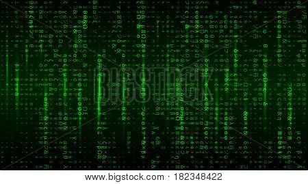 Vector Matrix background with the green symbols. Stream of futuristic code symbols on screen.  Coding or Hacker concept.