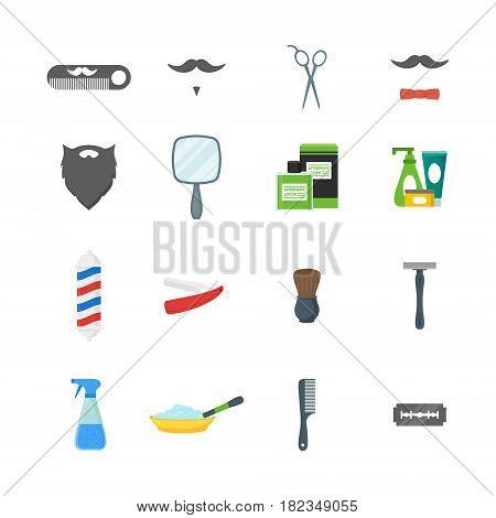 Cartoon Barbershop Shop Symbol Color Icons Set Flat Style Design Elements Accessory for Web. Vector illustration