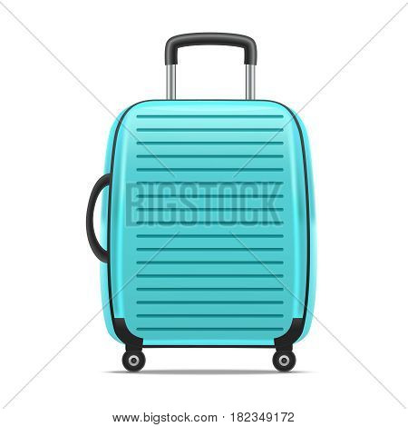 Realistic Detailed Blue Case or Suitcase with Handle Isolated on a White Background Symbol of Tourism. Vector illustration