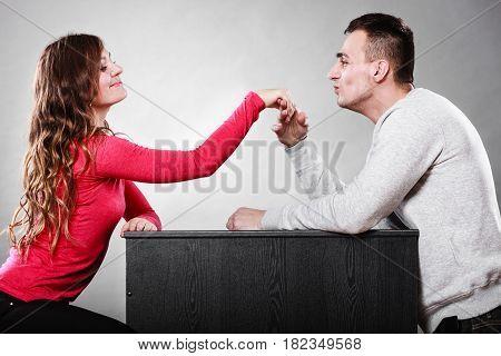 Man Husband Kissing Woman Hand. Love Couple.