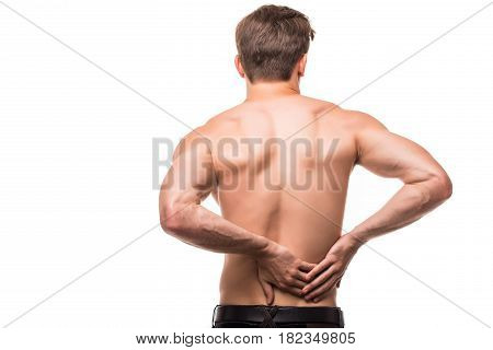 Young Man With Back Pain In Back On White Background