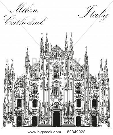 Famous Milan Cathedral in black color on piazza in Milan Italy. Graphic hand drawing illustration. Vector isolated on a white background.