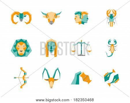 Cartoon Zodiac Symbol Color Icons Set Flat Style Design Concept Astrological Elements for Web. Vector illustration