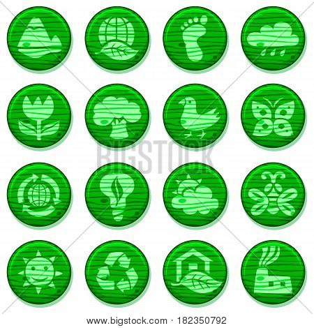 Eco green environment Icons Set, wooden round buttons Isolated On White Background - Vector Illustration, graphic design elements nature and ecology. Cute cartoon style.