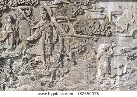 Chinese bas-relief, stone gray sunlight, asia east