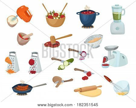 Cooking process set with kitchen stuff meat grinder whisk mortar grater rolling pin for dough isolated vector illustration