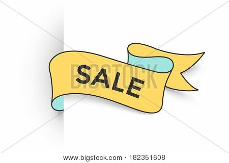 Ribbon banner with text Sale for discount and promotion. Colorful realistic sticker, banner for sale, shopping, market, business theme. Ribbon label isolated on white background. Vector Illustration