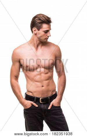 Healthy Athlete Body With Nice Muscle On White Backgound
