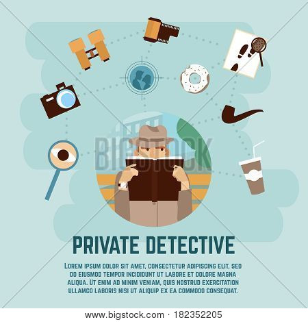 Private detective concept with camera magnifying glass and book flat vector illustration