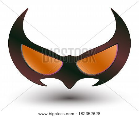 realistic vector illustration of black super hero mask for face character with vivid multicolored abstract gradient on light background