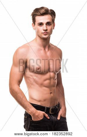 Well Built Shirtless Muscular Male Model Against White Background