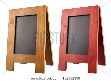 Blank wooden notice blackboard advertising handheld sandwich stands