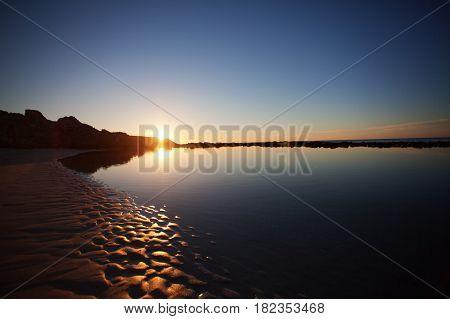 Scenic view of beautiful sunset on the beach. Kangaroo Island, South Australia.