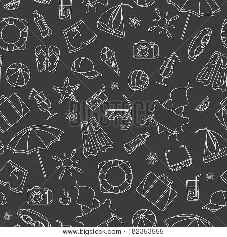 Seamless pattern on the theme of summer holidays in hot countries simple white contour icons on a dark background