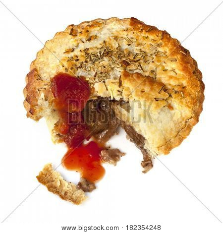 Meat pie with tomato sauce, isolated.  Lamb with rosemary.