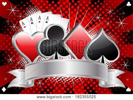Casino banner with card suits four aces and silver ribbon on red and black halftone background vector illustration