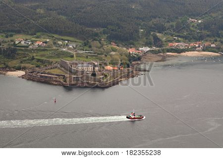 Aerial view of a estuary of northwestern coast of Spain
