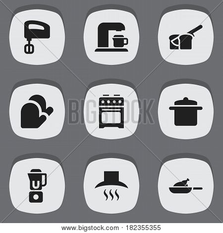 Set Of 9 Editable Cooking Icons. Includes Symbols Such As Kitchen Hood, Stove, Cookware And More. Can Be Used For Web, Mobile, UI And Infographic Design.