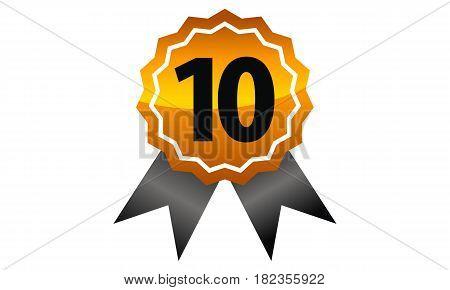 Emblem Best Quality Ribbon Award Number 10