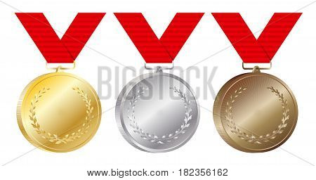 Set of gold silver and bronze medals vector Illustration isolated on white background