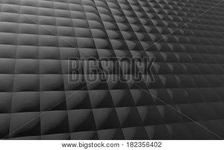 Glossy black surface of stack bulgy square