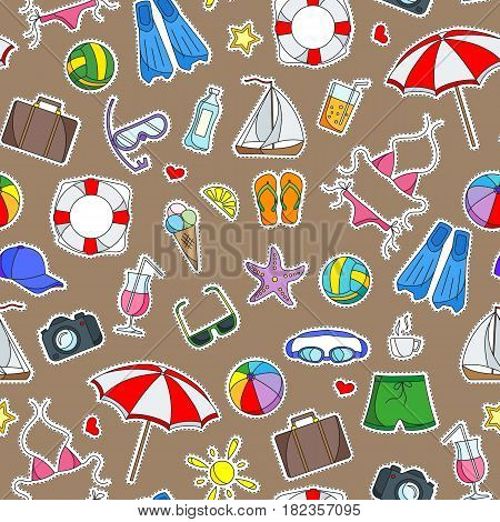 Seamless pattern on the theme of summer holidays in hot countries simple Ccolored icons patches on a brown background