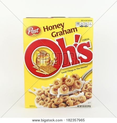 Spencer Wisconsin April 18 2017 Box of Post Honey Graham Oh's Post is an American brand of cereal and was founded in 1895 by C.W.Post