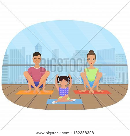 Young white people family meditating in fitness room on the city background