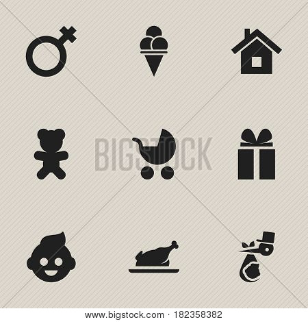 Set Of 9 Editable Kin Icons. Includes Symbols Such As Toy, Child, Baby And More. Can Be Used For Web, Mobile, UI And Infographic Design.