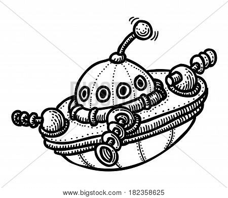 Cartoon image of flying saucer. An artistic freehand picture.