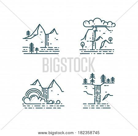 Waterfall and mountain landscape set isolated on white background. Trendy line style icons, vector illustration