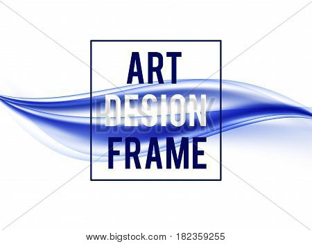 Abstract elegant art design background with blue wavy lines in dynamic light smooth soft style. Vector illustration