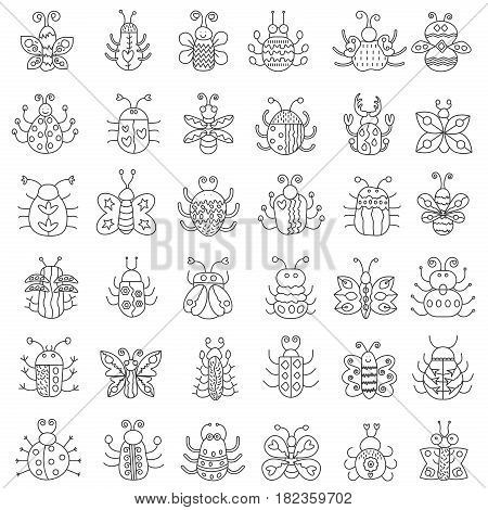 Thin line insects icons set. Outline butterfly, bugs collection