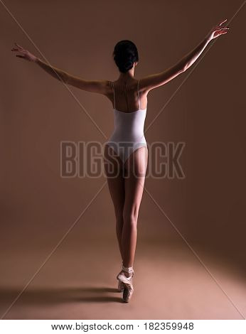 Back View Of Young Beautiful Woman Ballet Dancer Posing On Toes Over Beige