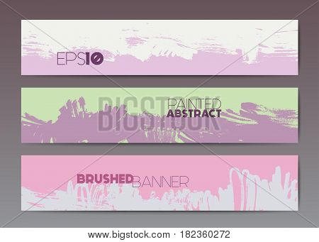 Abstract modern grunge banner templates, brush spots in pink and purple, web design element