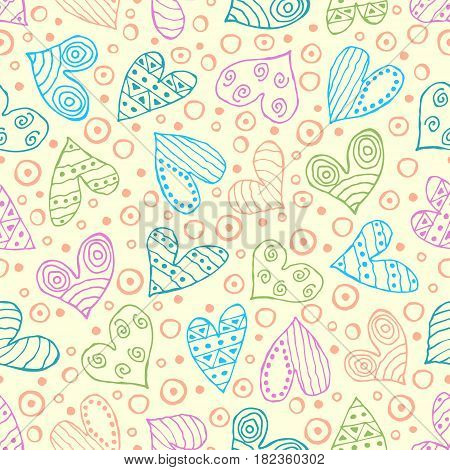 Seamless Vector Patterns With Hearts. Background With Hand Drawn Ornamental Symbols And Decorative E
