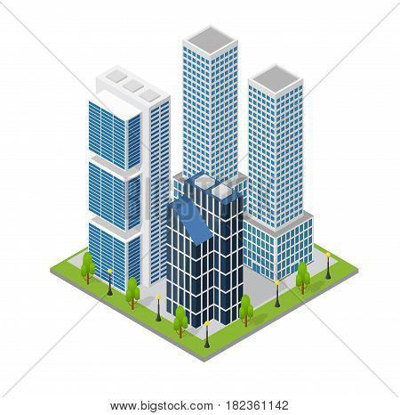 City Landscape Quarter and Skyscraper Building Isometric View Part of the Map with Architecture for Web and Game. Vector illustration