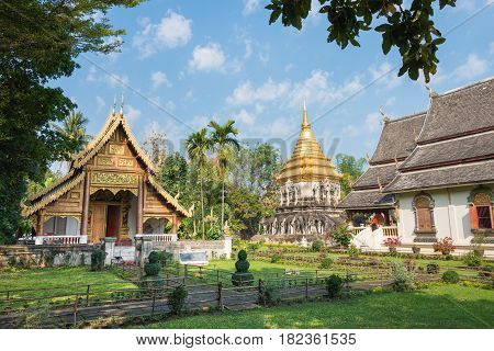 Chiang Mai, Thailand. - Feb 17 2015: Wat Chiang Man. A Famous Temple In Chiang Mai, Thailand.