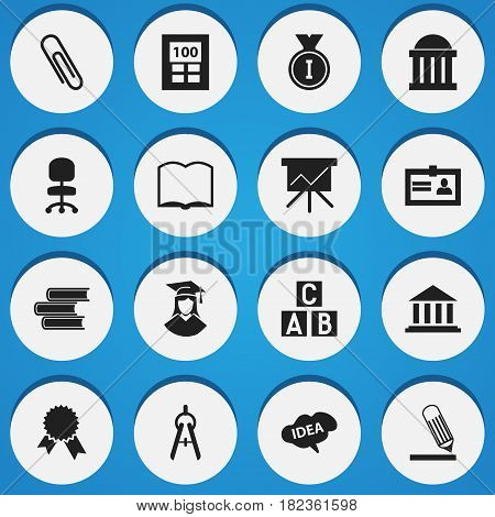 Set Of 16 Editable University Icons. Includes Symbols Such As Work Seat, Writing, Calculator And More. Can Be Used For Web, Mobile, UI And Infographic Design.