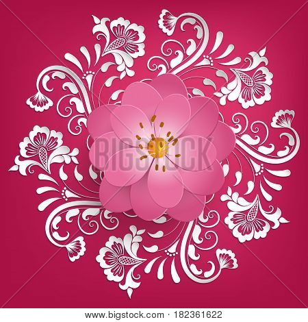 Vector paper cut sakura flowers with mehndi ornament on background. Floral volumetric composition. Elegant element for invitaion cards.