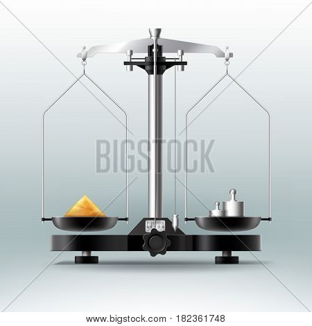 Vector laboratory balance with weights dumbbells and stuff, side view isolated on Background