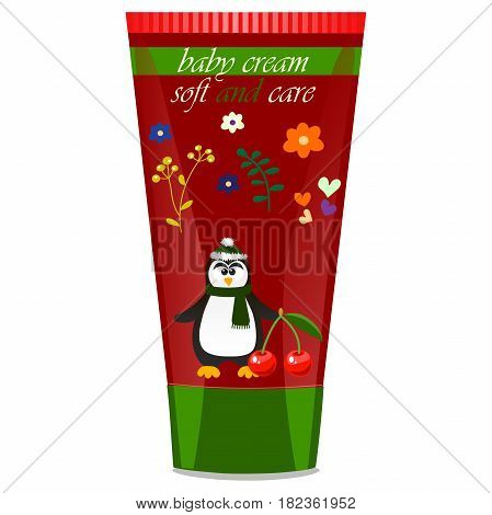 High quality original trendy vector Baby cream tube with kids design and pinguin, cherry illustration