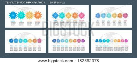 Business infographics. Presentation templates with 4, 5, 6, 7, 8, 9 connected gears. Vector infographic flowcharts, diagrams, timelines.