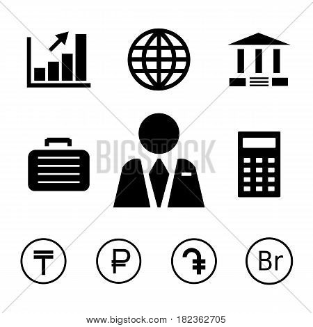 Finance and bank icons with currency symbols of tenge, russian ruble, dram and belarusian ruble. Black and white style.