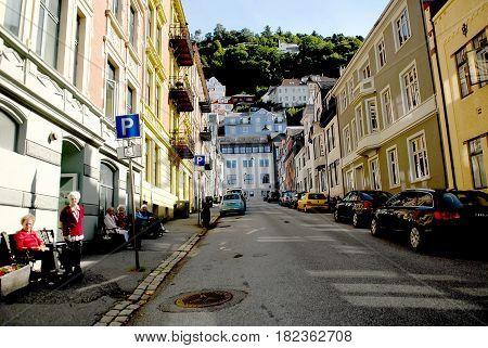 Bergen Norway - July 20 2014: Rikard Nordraak street way to Floyen. Floyen is one of the city mountains in Bergen and one of the city's most popular tourist attractions.