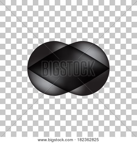 Black premium bubble badge, button template with realistic shadow, reflex and transparent background for logo, design concepts, banners, posters, web, applications, apps, prints. Vector illustration.
