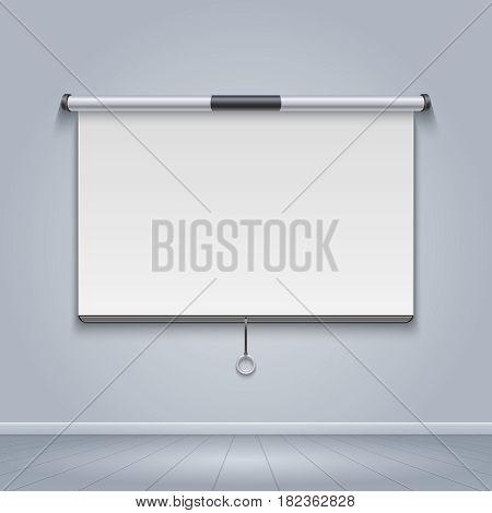White board, meeting screen, movie billboard vector illustration. Projector screen for seminar and presentation
